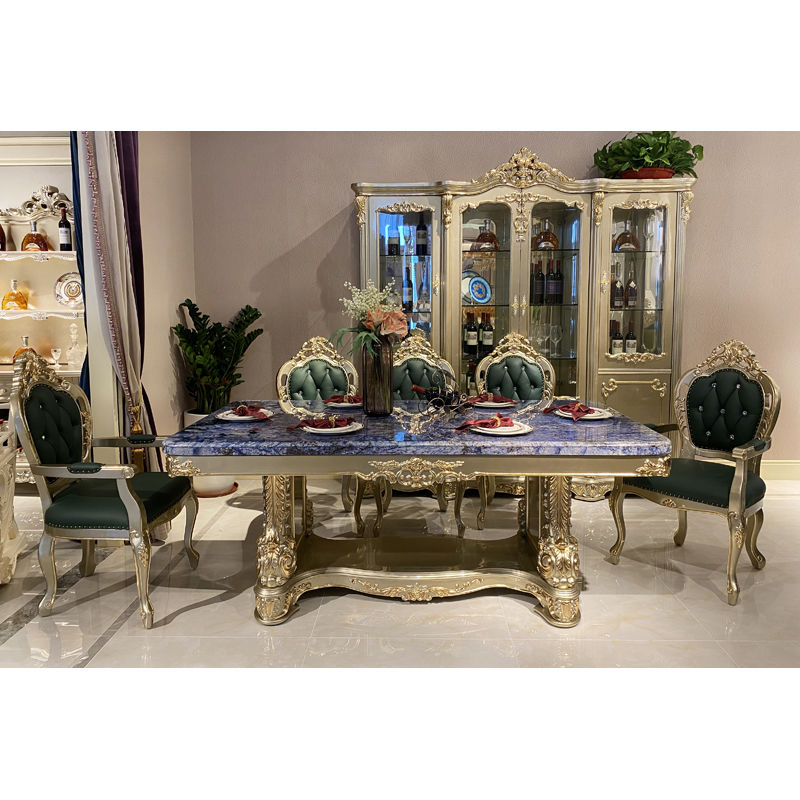 Luxury furniture blue sky marble classic dining table T-3313b-1