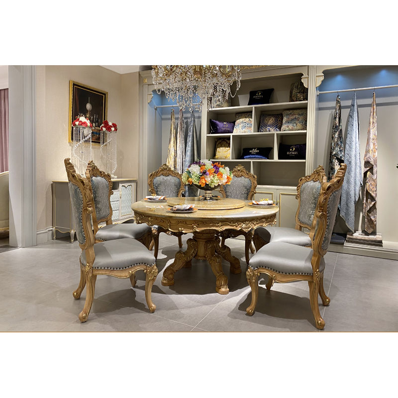 luxury furniture quality marble classic dining table set T-3301-1