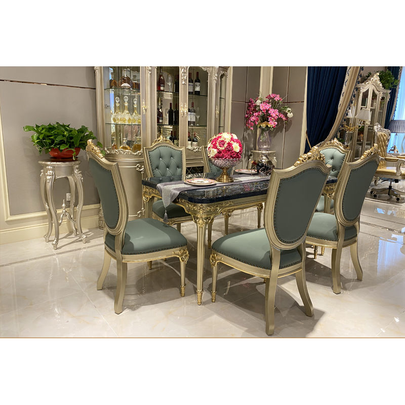 Italian dining room luxury classic dining table with marble T-932a-1