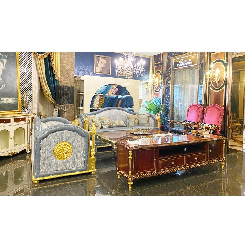 James Bond Classic Italian sofa design 14k gold and British style Light blue A2822