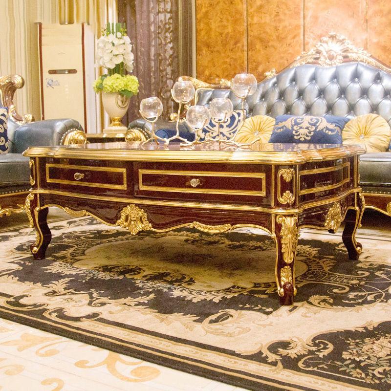 James Bond Classic coffee table furniture 14k gold and solid wood with piano resin paint A tank barrels D2789