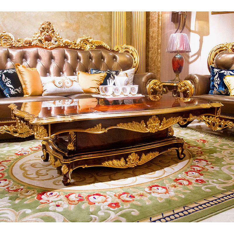 James Bond Classic coffee table/ End table14k gold and solid wood with piano resin paint Brown /Gold /White JF17