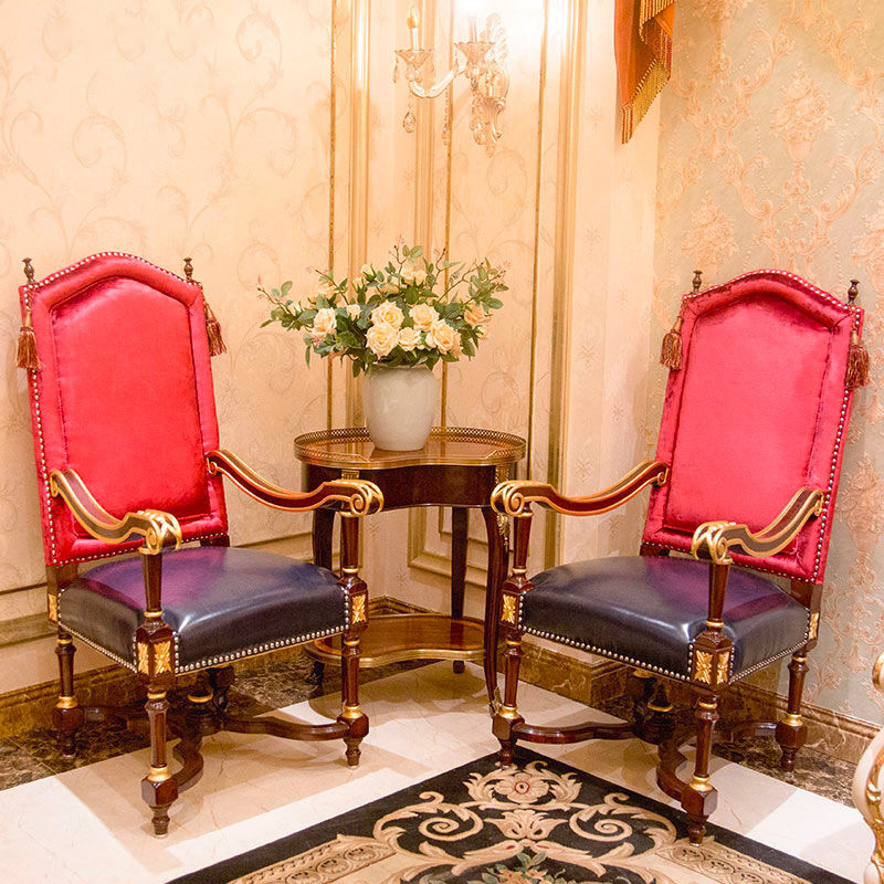 James Bond classic furniture 14k gold red/blue leisure chairs A925