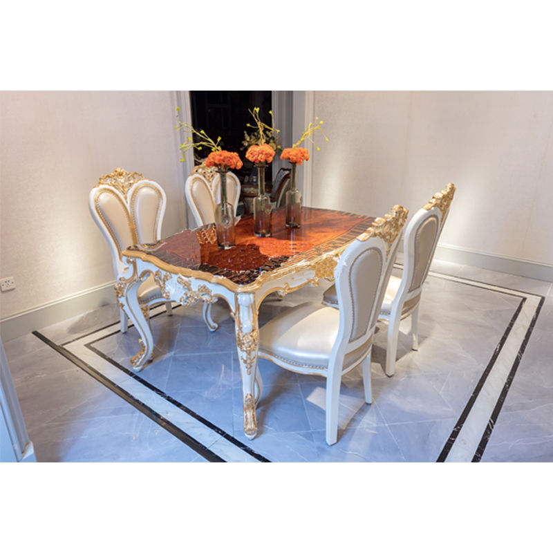 Classic dining room furniture JP655 hand-carved hand-pasted gold foil