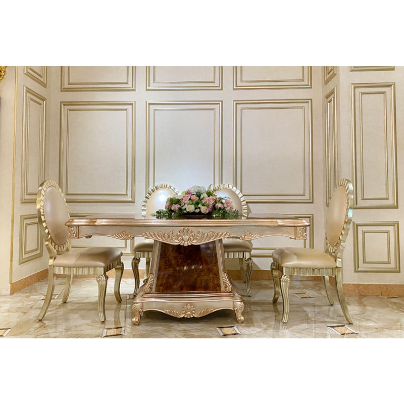 Classic dining room classic rectangular table F118 in champagne
