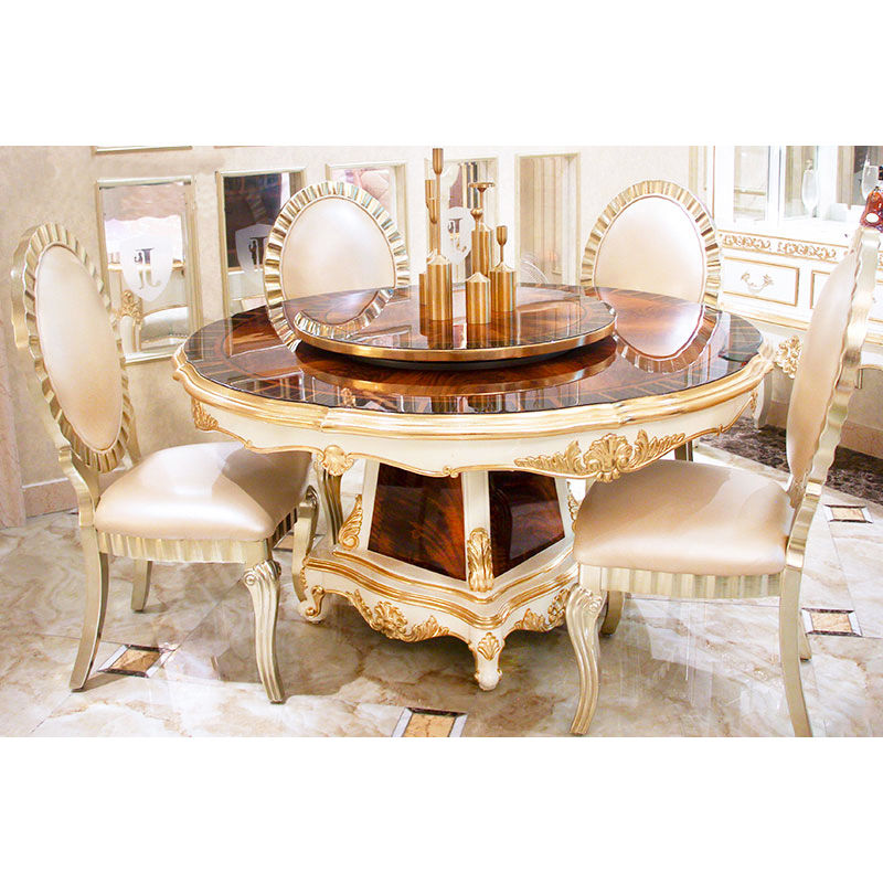 James Bond Classic round dining table and solid wood with piano resin paint white JF16-A