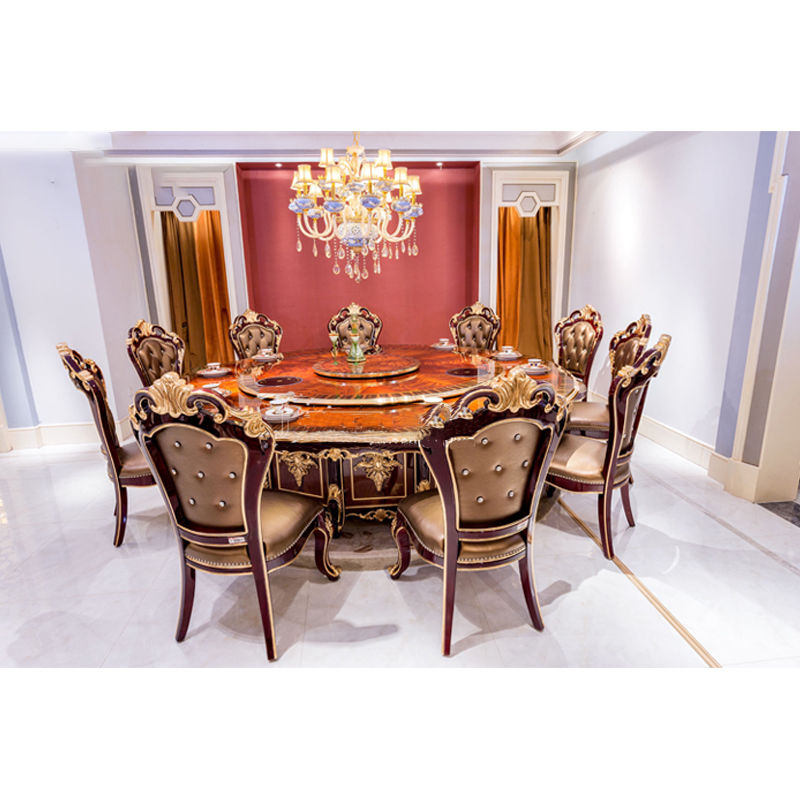 James Bond Classic electric round dining table and solid wood with piano resin paint Brown JF522