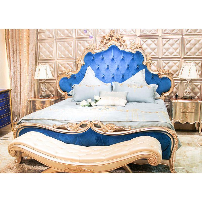James Bond Classic bed furniture design 14k gold and solid wood Blue velvet JP644