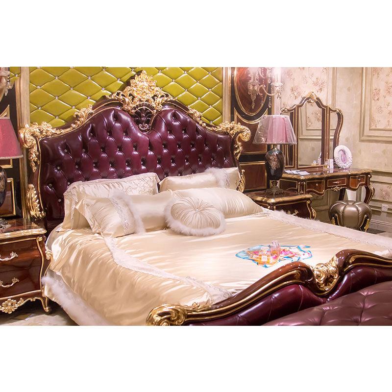 James Bond Classic bed Italian bedroom furniture14k gold and solid wood purple JP659