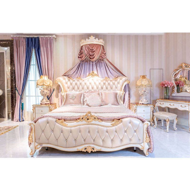 James Bond Classic wooden bed designs 14k gold and solid wood Pink/ Brown/White/ Grey JF515