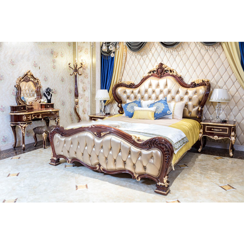 James Bond luxury Classic bed 14k gold and solid wood Light brown JP622