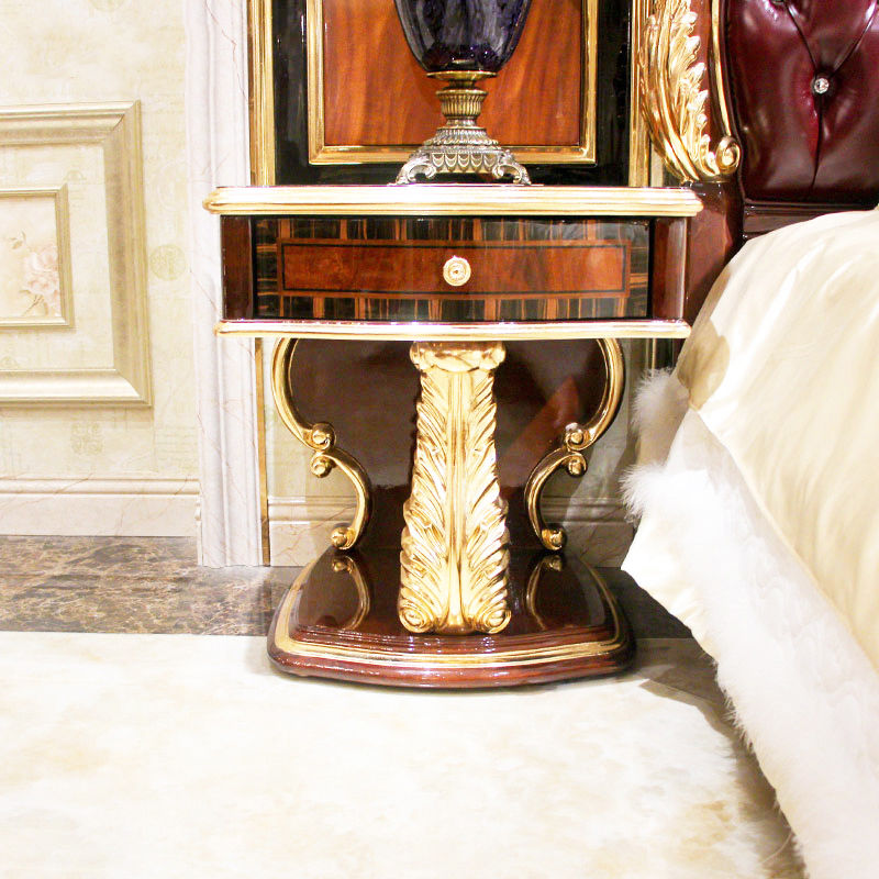 Classic bedside table 14k gold and solid wood F111 (Brown)James Bond