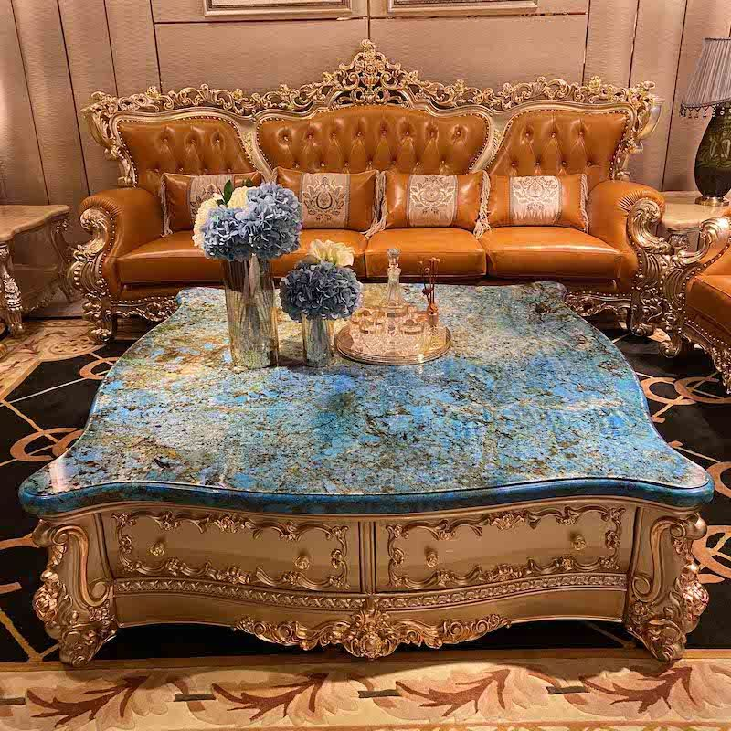 Royal furniture luxury blue natural marble coffee table