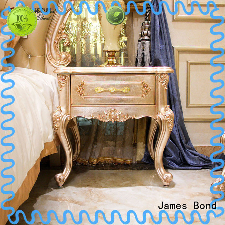 James Bond solid wood traditional bedside table factory direct supply for apartment