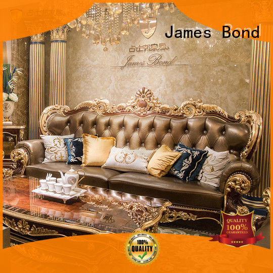 James Bond classical sofa furniture 14k gold and solid wood light brown A2820