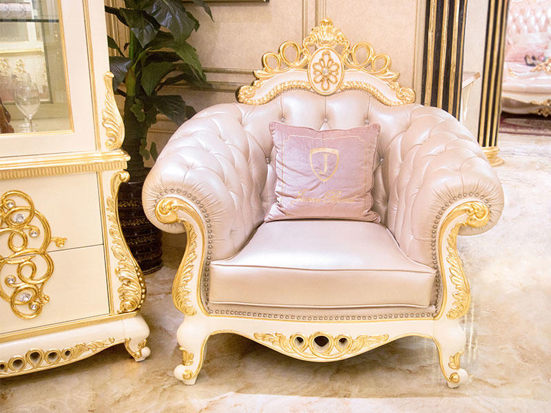 James Bond classical sofa styles 14k gold and solid Brown /off-white JF245-3